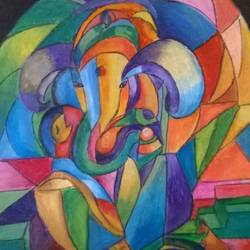abstract ganesh, 12 x 8 inch, prabha  panth,12x8inch,thick paper,ganesha paintings | lord ganesh paintings,paintings for dining room,paintings for living room,paintings for dining room,paintings for living room,pastel color,GAL0390727701