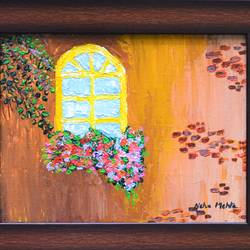 the yellow window, 11 x 9 inch, neha mehta,11x9inch,canvas,flower paintings,cityscape paintings,acrylic color,GAL01452227707