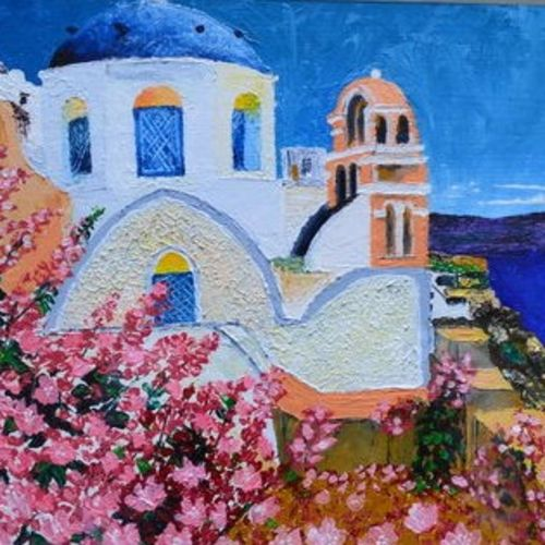 for the love of greece, 16 x 14 inch, neha mehta,16x14inch,canvas board,cityscape paintings,landscape paintings,acrylic color,mixed media,GAL01452227710