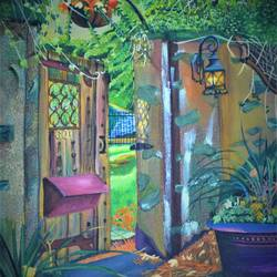 garden door 601, 16 x 20 inch, neha mehta,16x20inch,canvas board,paintings,flower paintings,cityscape paintings,landscape paintings,nature paintings | scenery paintings,acrylic color,GAL01452227713