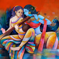 haripriya (हरिप्रिया) 2 , 48 x 36 inch, sanjay  tandekar ,48x36inch,canvas,paintings,figurative paintings,radha krishna paintings,contemporary paintings,acrylic color,GAL0281027717
