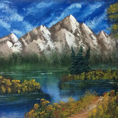 the mountains, 17 x 12 inch, hansy meshak,17x12inch,canvas board,landscape paintings,nature paintings | scenery paintings,oil color,GAL01115127720