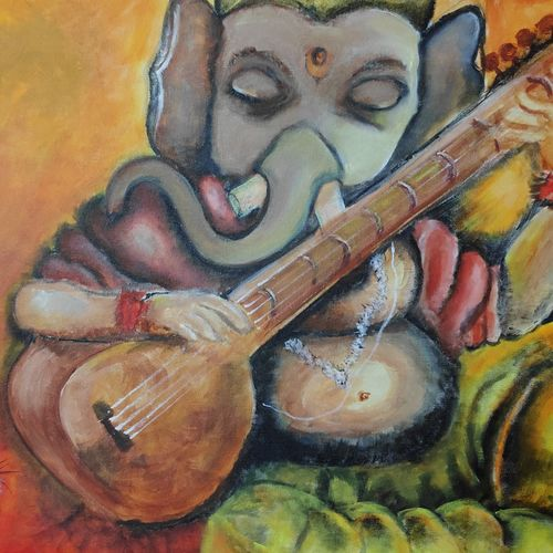 ganesha, 34 x 20 inch, vyshakh  shiburaj,34x20inch,canvas,paintings,religious paintings,ganesha paintings | lord ganesh paintings,paintings for dining room,paintings for living room,paintings for bedroom,paintings for hotel,acrylic color,GAL01641027723