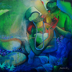 underwater romance -3 , 42 x 36 inch, anupam  pal,42x36inch,canvas,paintings,figurative paintings,paintings for dining room,paintings for living room,paintings for bedroom,paintings for office,paintings for bathroom,paintings for kids room,paintings for hotel,paintings for kitchen,paintings for school,paintings for hospital,acrylic color,GAL08227724