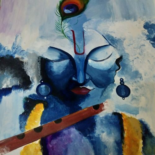 lord krishna, 13 x 22 inch, niwedita  joshi,13x22inch,thick paper,paintings,religious paintings,acrylic color,paper,GAL01247027731