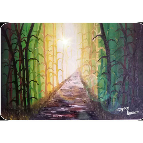 the road not taken , 18 x 20 inch, sanjeev kumar,18x20inch,canvas,paintings,abstract paintings,wildlife paintings,nature paintings | scenery paintings,paintings for dining room,paintings for living room,paintings for bedroom,paintings for office,paintings for bathroom,paintings for kids room,paintings for hotel,paintings for kitchen,paintings for school,acrylic color,GAL0456827742