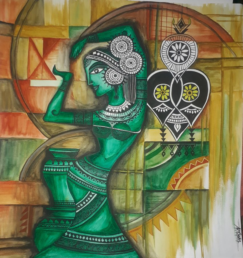 painting of a dancing lady, 15 x 15 inch, kiran chavan,15x15inch,thick paper,paintings,abstract paintings,folk art paintings,street art,contemporary paintings,paintings for dining room,paintings for living room,paintings for bedroom,paintings for office,paintings for hotel,paintings for school,paintings for hospital,paintings for dining room,paintings for living room,paintings for bedroom,paintings for office,paintings for hotel,paintings for school,paintings for hospital,acrylic color,watercolor,graphite pencil,paper,GAL0732827747