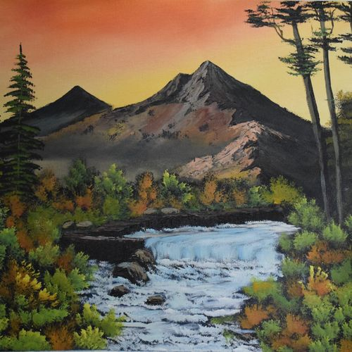 mountain waterflow, 22 x 18 inch, shankhadeep  mondal,22x18inch,canvas,paintings,landscape paintings,paintings for dining room,paintings for living room,paintings for bedroom,paintings for office,paintings for kids room,paintings for hotel,paintings for school,acrylic color,GAL01403027758