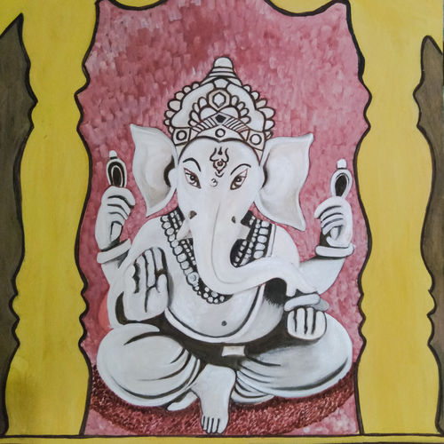 lord ganesha, 12 x 17 inch, aarti jadli,12x17inch,canson paper,paintings,religious paintings,ganesha paintings | lord ganesh paintings,paintings for living room,paintings for office,paintings for hotel,ink color,watercolor,GAL01247427761
