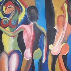 nude, 20 x 24 inch, biswarup  maiti,20x24inch,canvas,paintings,figurative paintings,paintings for bedroom,acrylic color,GAL01670627762