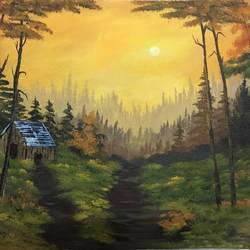 morning cabin, 23 x 18 inch, shankhadeep  mondal,23x18inch,canvas,paintings,landscape paintings,paintings for dining room,paintings for living room,paintings for bedroom,paintings for office,paintings for kids room,paintings for hotel,paintings for school,paintings for hospital,acrylic color,GAL01403027764