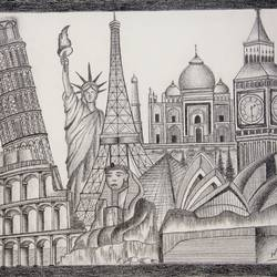 wonders, 20 x 16 inch, manushri vikhraha,conceptual drawings,paintings for living room,canvas,pencil color,20x16inch,GAL010562778