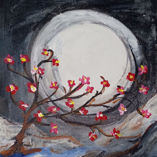 moonlight, 8 x 10 inch, vinod shrivastava,8x10inch,canvas,landscape paintings,nature paintings | scenery paintings,acrylic color,fabric,GAL01618827780