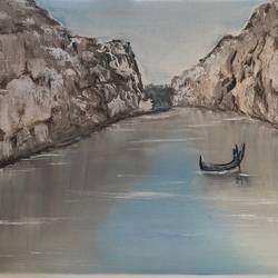bhedaghat narmada river, 16 x 12 inch, amit soni,16x12inch,canvas board,paintings,nature paintings | scenery paintings,surrealism paintings,oil color,GAL01671927784