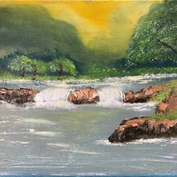 kaveri, 10 x 12 inch, amit soni,10x12inch,canvas,paintings,nature paintings | scenery paintings,surrealism paintings,oil color,GAL01671927786