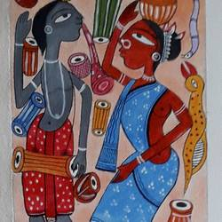 patachitra in bengal, 6 x 30 inch, biswarup maiti,6x30inch,canvas,paintings,foil paintings,paintings for dining room,paintings for living room,paintings for bedroom,paintings for office,paintings for hotel,paintings for school,paintings for hospital,acrylic color,GAL01670627793