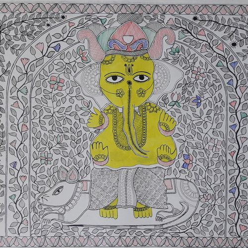 lord ganesh, 20 x 14 inch, biswarup maiti,20x14inch,handmade paper,paintings,madhubani paintings | madhubani art,paintings for dining room,paintings for living room,paintings for bedroom,paintings for office,paintings for kids room,paintings for hotel,paintings for school,paintings for hospital,acrylic color,pen color,GAL01670627794