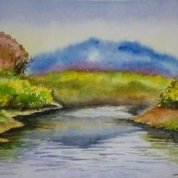 blue hill, 12 x 16 inch, ruman mohanty,12x16inch,handmade paper,paintings,landscape paintings,paintings for living room,watercolor,GAL01535127798