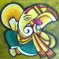 ganesha painting , 18 x 24 inch, archana bharath,18x24inch,canvas,paintings,modern art paintings,religious paintings,ganesha paintings | lord ganesh paintings,paintings for dining room,paintings for living room,paintings for bedroom,paintings for office,paintings for kids room,paintings for hotel,paintings for kitchen,paintings for school,paintings for hospital,acrylic color,GAL0634927801
