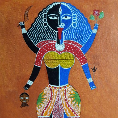 abstract maa kali, 17 x 21 inch, biswarup maiti,17x21inch,canvas,paintings,religious paintings,paintings for dining room,paintings for living room,paintings for bedroom,paintings for office,acrylic color,GAL01670627819