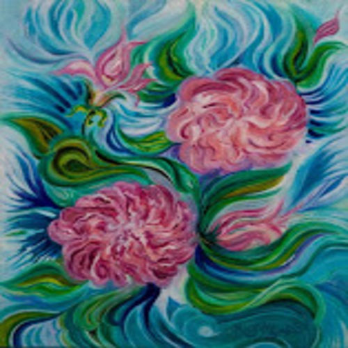 aura of roses, 24 x 18 inch, manjou ( harmanjit kaur) lamba,flower paintings,paintings for bedroom,canvas,acrylic color,24x18inch,GAL010952782