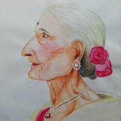 old is gold, 11 x 16 inch, sneha  tomar,11x16inch,drawing paper,paintings,portrait paintings,illustration paintings,realistic paintings,paintings for living room,paintings for hotel,poster color,watercolor,GAL01285827822