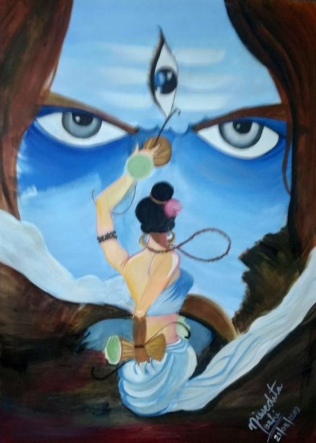lord shiva, 13 x 18 inch, niwedita joshi,13x18inch,drawing paper,paintings,religious paintings,acrylic color,paper,GAL01247027823