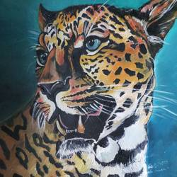 leopard , 18 x 24 inch, hardeep singh,18x24inch,canvas,wildlife paintings,oil color,GAL01576327825