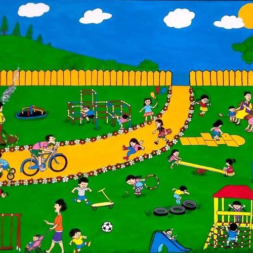 children playing in the garden, 25 x 20 inch, geeta kwatra,25x20inch,ivory sheet,paintings,figurative paintings,kids paintings,paintings for kids room,paintings for school,mixed media,GAL0899127827