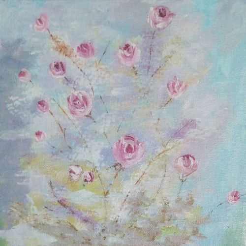 roses, 8 x 8 inch, shirin kadam,8x8inch,canvas board,paintings,flower paintings,paintings for dining room,paintings for living room,paintings for bedroom,paintings for office,paintings for bathroom,paintings for kitchen,acrylic color,GAL01388427840