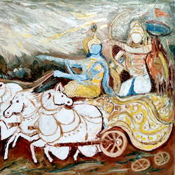 the divine chariot, 42 x 31 inch, anand manchiraju,42x31inch,canvas,religious paintings,horse paintings,paintings for dining room,paintings for living room,paintings for office,paintings for hotel,paintings for hospital,paintings for dining room,paintings for living room,paintings for office,paintings for hotel,paintings for hospital,oil color,GAL01254027842