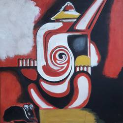 abstract ganesh, 19 x 22 inch, biswarup maiti,19x22inch,canvas,paintings,ganesha paintings | lord ganesh paintings,paintings for living room,paintings for office,paintings for hotel,paintings for school,paintings for hospital,acrylic color,GAL01670627845