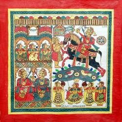 pabuji ki phad, 12 x 12 inch, abhishek joshi,12x12inch,cloth,paintings,phad painting,natural color,GAL01642527849