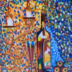 wine by candels , 18 x 24 inch, gaurav kedia,18x24inch,canvas,paintings,modern art paintings,still life paintings,paintings for dining room,paintings for living room,paintings for bedroom,paintings for office,paintings for bathroom,paintings for kids room,paintings for hotel,paintings for kitchen,paintings for school,paintings for hospital,acrylic color,GAL01682327861