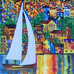 sailing by the countrside, 18 x 24 inch, gaurav kedia,18x24inch,canvas,paintings,landscape paintings,street art,paintings for dining room,paintings for living room,paintings for bedroom,paintings for office,paintings for bathroom,paintings for kids room,paintings for hotel,paintings for kitchen,paintings for school,paintings for hospital,acrylic color,GAL01682327862