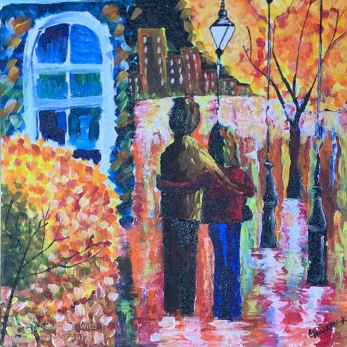 lovers by the park, 16 x 24 inch, gaurav kedia,16x24inch,canvas board,paintings,love paintings,paintings for dining room,paintings for living room,paintings for bedroom,paintings for office,paintings for bathroom,paintings for kids room,paintings for hotel,paintings for kitchen,paintings for school,paintings for hospital,acrylic color,GAL01682327863