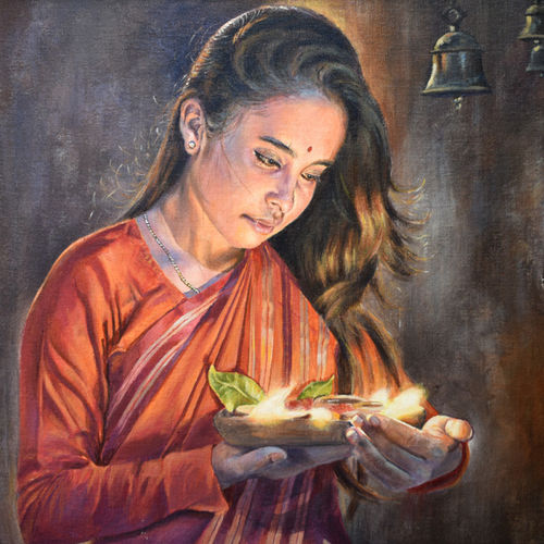 girl with lamp, 24 x 18 inch, debojyoti boruah,24x18inch,canvas board,paintings,figurative paintings,religious paintings,portrait paintings,photorealism,portraiture,realism paintings,realistic paintings,paintings for dining room,paintings for living room,paintings for bedroom,paintings for office,paintings for kids room,paintings for hotel,paintings for kitchen,paintings for hospital,acrylic color,GAL01261427864