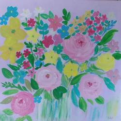 pink roses, 15 x 15 inch, rajyshri charan,15x15inch,canvas,paintings,flower paintings,paintings for living room,paintings for bedroom,paintings for kids room,paintings for hotel,paintings for hospital,acrylic color,GAL01679127879