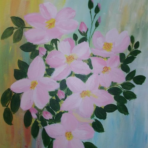 pinks, 18 x 24 inch, rajyshri charan,18x24inch,canvas,paintings,flower paintings,paintings for dining room,paintings for living room,paintings for bedroom,paintings for office,paintings for kids room,paintings for hotel,paintings for school,paintings for hospital,acrylic color,GAL01679127881