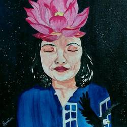 life is meditation, 12 x 16 inch, sumdima rai,paintings for living room,figurative paintings,canvas,acrylic color,12x16inch,GAL010972790