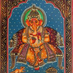 lord ganesha, 16 x 12 inch, vishal gurjar,16x12inch,wood board,paintings,figurative paintings,portrait paintings,paintings for living room,paintings for bedroom,paintings for hotel,acrylic color,oil color,GAL0778127929