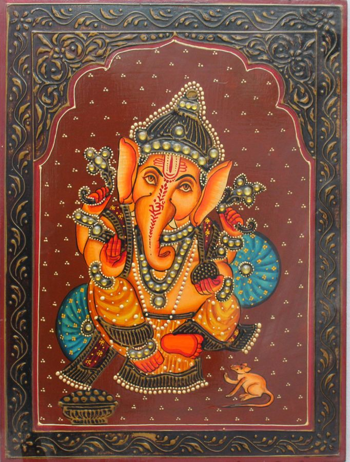 lord ganesha, 16 x 12 inch, vishal gurjar,16x12inch,wood board,paintings,figurative paintings,portrait paintings,paintings for living room,paintings for bedroom,paintings for hotel,acrylic color,oil color,GAL0778127930