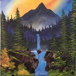 waterfall, 18 x 24 inch, shankhadeep  mondal,18x24inch,canvas,paintings,landscape paintings,paintings for dining room,paintings for living room,paintings for bedroom,paintings for office,paintings for kids room,paintings for hotel,paintings for kitchen,paintings for school,paintings for hospital,acrylic color,GAL01403027932
