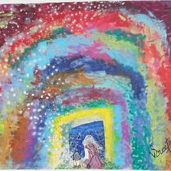 rainbow  in darkness , 28 x 24 inch, vineeta  singh,28x24inch,canvas,paintings,abstract paintings,figurative paintings,nature paintings | scenery paintings,acrylic color,GAL01238827941