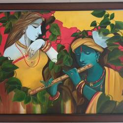 krishna with radha, 31 x 25 inch, sameeta bhatia,31x25inch,canvas,paintings,figurative paintings,religious paintings,radha krishna paintings,love paintings,paintings for dining room,paintings for living room,paintings for bedroom,paintings for bathroom,paintings for kids room,paintings for hotel,paintings for kitchen,paintings for school,paintings for hospital,oil color,GAL01565427943