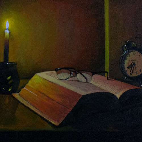 the reader's table, 24 x 18 inch, varun  n rao,24x18inch,canvas,paintings,still life paintings,art deco paintings,expressionism paintings,photorealism paintings,photorealism,realistic paintings,paintings for dining room,paintings for living room,paintings for bedroom,paintings for office,paintings for kids room,paintings for hotel,paintings for dining room,paintings for living room,paintings for bedroom,paintings for office,paintings for kids room,paintings for hotel,acrylic color,GAL0880927947