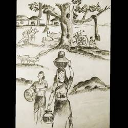 everyday life in a village, 10 x 13 inch, somrita chatterjee,10x13inch,paper,drawings,expressionism drawings,pencil color,paper,GAL01684427957