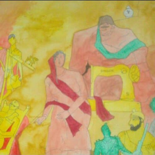 indian cultures, 35 x 28 inch, nadim ahmed khan,35x28inch,handmade paper,paintings,figurative paintings,conceptual paintings,religious paintings,paintings for dining room,paintings for living room,paintings for bedroom,paintings for office,paintings for bathroom,paintings for kids room,paintings for hotel,paintings for kitchen,paintings for school,paintings for hospital,watercolor,GAL0921927967