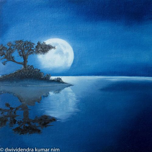 moonlight, 16 x 12 inch, dwividendra nim,16x12inch,canvas board,paintings,abstract paintings,landscape paintings,nature paintings | scenery paintings,paintings for dining room,paintings for living room,paintings for bedroom,paintings for office,paintings for bathroom,paintings for kids room,paintings for hotel,paintings for kitchen,paintings for school,paintings for hospital,oil color,GAL01687927979