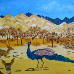 beauty of desert, 20 x 30 inch, neena  bhatti,20x30inch,canvas,paintings,landscape paintings,acrylic color,GAL01578127989